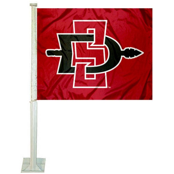 San Diego State Car Window Flag measures 12x15 inches, is constructed of sturdy 2 ply polyester, and has dye sublimated school logos which are readable and viewable correctly on both sides. San Diego State Car Window Flag is officially licensed by the NCAA and selected university.