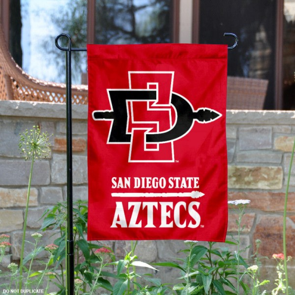 San Diego State University Garden Flag is 13x18 inches in size, is made of 2-layer polyester, screen printed San Diego State University athletic logos and lettering. Available with Same Day Express Shipping, Our San Diego State University Garden Flag is officially licensed and approved by San Diego State University and the NCAA.