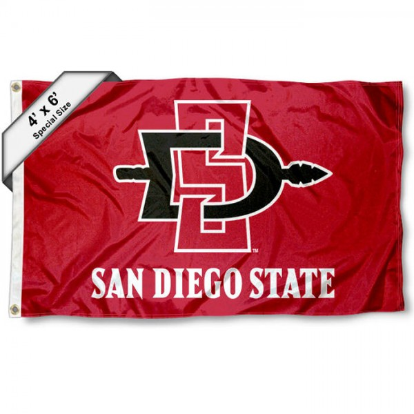 San Diego State University Large 4x6 Flag measures 4x6 feet, is made thick woven polyester, has quadruple stitched flyends, two metal grommets, and offers screen printed NCAA San Diego State University Large athletic logos and insignias. Our San Diego State University Large 4x6 Flag is officially licensed by San Diego State University and the NCAA.
