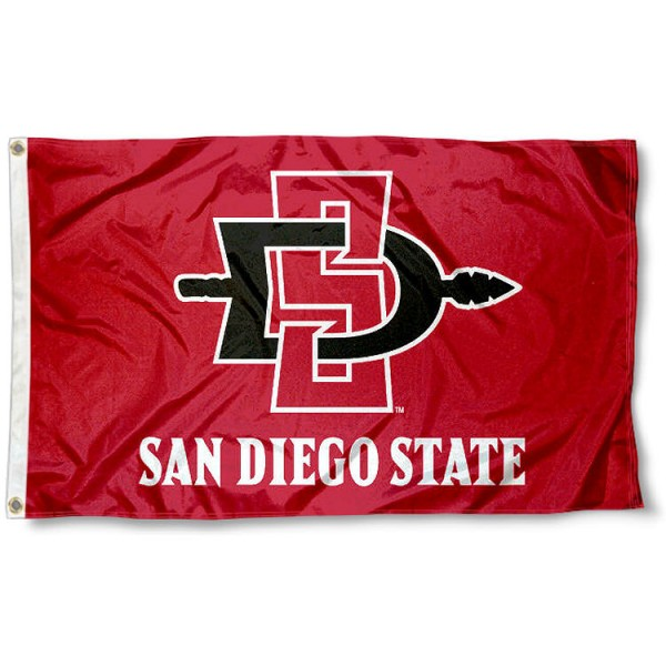 San Diego State University Logo Outdoor Flag measures 3'x5', is made of 100% poly, has quadruple stitched sewing, two metal grommets, and has double sided SDSU Aztecs logos. Our San Diego State University Logo Outdoor Flag is officially licensed by the selected university and the NCAA.