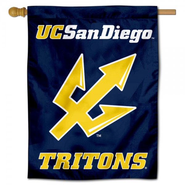 San Diego Tritons Double Sided House Flag is a vertical house flag which measures 30x40 inches, is made of 2 ply 100% polyester, offers screen printed NCAA team insignias, and has a top pole sleeve to hang vertically. Our San Diego Tritons Double Sided House Flag is officially licensed by the selected university and the NCAA.