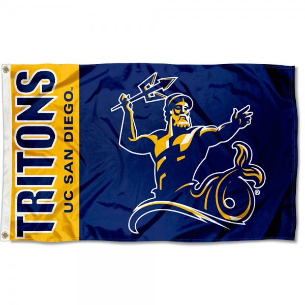 San Diego Tritons Flag is made of 100% nylon, offers quad stitched flyends, measures 3x5 feet, has two metal grommets, and is viewable from both side with the opposite side being a reverse image. Our San Diego Tritons Flag is officially licensed by the selected college and NCAA