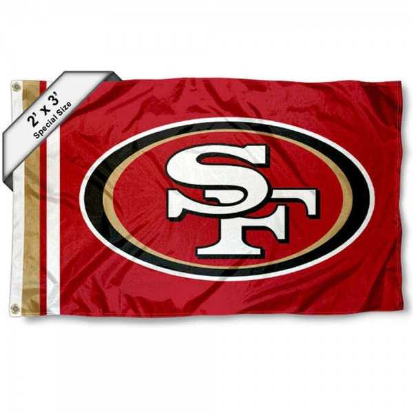 San Francisco 49ers 2x3 Feet Flag measures 2'x3', is made polyester, has quadruple stitched flyends, two metal grommets, and offers screen printed NFL San Francisco 49ers logos and insignias. Our San Francisco 49ers 2x3 Foot Flag is NFL Officially Licensed and approved.