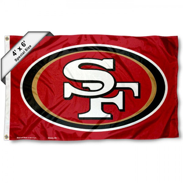 San Francisco 49ers 4x6 Flag measures a large 4x6 feet, is made polyester, has quadruple stitched flyends, two metal grommets, and offers screen printed NFL San Francisco 49ers logos and insignias. Our San Francisco 49ers 4x6 Foot Flag is NFL Officially Licensed and San Francisco 49ers approved.