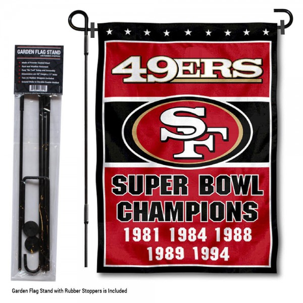 """San Francisco 49ers 5 Time Champions Garden Banner and Flag Stand kit includes our 13""""x18"""" garden banner which is made of 2 ply poly with liner and has screen printed licensed logos. Also, a 40""""x17"""" inch garden flag stand is included so your San Francisco 49ers 5 Time Champions Garden Banner and Flag Stand is ready to be displayed with no tools needed for setup. Fast Overnight Shipping is offered and the flag is Officially Licensed and Approved by the selected team."""