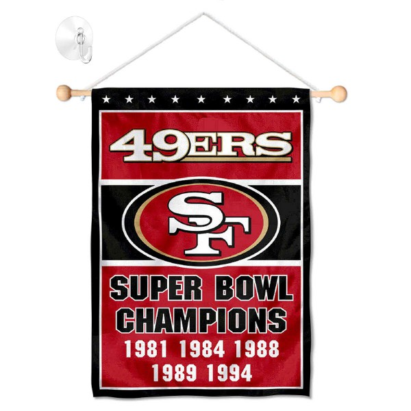 "San Francisco 49ers 5 Time Champions Window and Wall Banner kit includes our 12.5""x18"" garden banner which is made of 2 ply poly with liner and has screen printed licensed logos. Also, a 17"" wide banner pole with suction cup is included so your San Francisco 49ers 5 Time Champions Window and Wall Banner is ready to be displayed with no tools needed for setup. Fast Overnight Shipping is offered and the flag is Officially Licensed and Approved by the selected team."