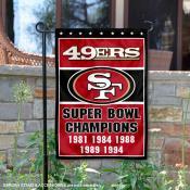 San Francisco 49ers 5 Time Super Bowl Champs Garden Flag