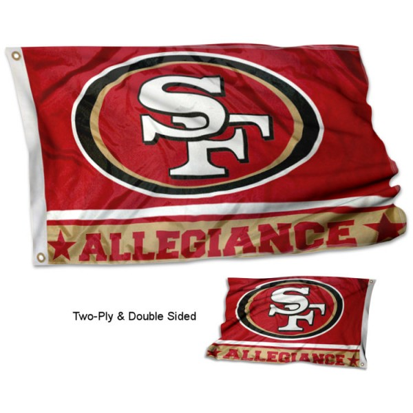 San Francisco 49ers Allegiance Flag measures 3'x5', is made of 2-ply double sided polyester with liner, has quadruple stitched sewing, two metal grommets, and has two sided team logos. Our San Francisco 49ers Allegiance Flag is officially licensed by the selected team and the NFL and is available with overnight express shipping.