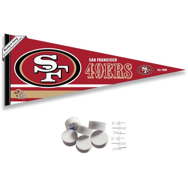 This San Francisco 49ers Banner Pennant with Tack Wall Pads is 12x30 inches, is made of premium felt blends, has a pennant stick sleeve, and the team logos are single sided screen printed. Our San Francisco 49ers Banner Pennant Flag is NFL Officially Licensed and include our 6 pack of wall adhesive pads and tacks.