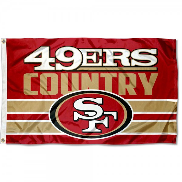 Our San Francisco 49ers Country Flag is double sided, made of poly, 3'x5', has two metal grommets, indoor or outdoor, and four-stitched fly ends. These San Francisco 49ers Country Flags are Officially Approved by the San Francisco 49ers.