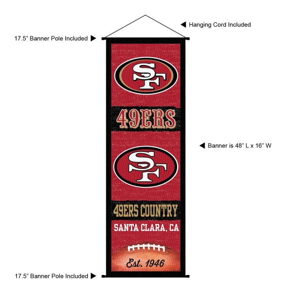 "This ""ready to hang"" San Francisco 49ers Decor and Banner is made of polyester material, measures a large 17.5"" x 48"", offers screen printed athletic logos, and includes both top and bottom 3/4"" diameter plastic banner poles and hanging cord. Our San Francisco 49ers D�cor and Banner is Officially Licensed by the selected team and NFL."