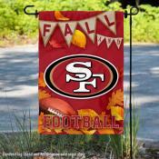 San Francisco 49ers Fall Football Leaves Decorative Double Sided Garden Flag