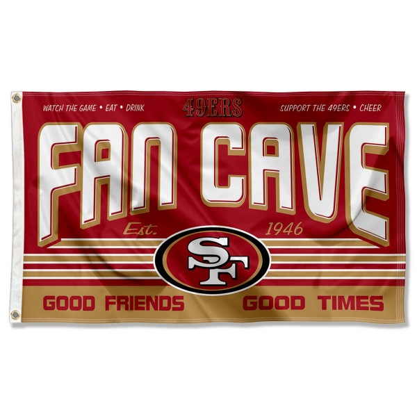 Our San Francisco 49ers Fan Cave Flag Large Banner is double sided, made of poly, 3'x5', has two metal grommets, indoor or outdoor, and four-stitched fly ends. These San Francisco 49ers Fan Cave Flag Large Banners are Officially Approved by the San Francisco 49ers.