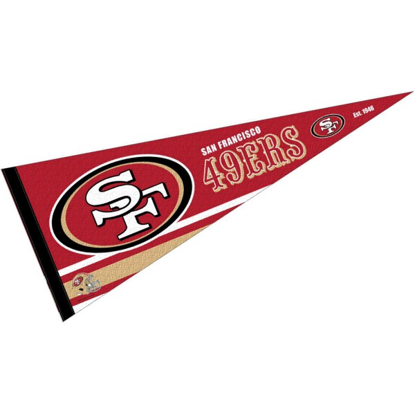 This San Francisco 49ers Full Size Pennant is 12x30 inches, is made of premium felt blends, has a pennant stick sleeve, and the team logos are single sided screen printed. Our San Francisco 49ers Full Size Pennant is NFL Officially Licensed.