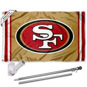 San Francisco 49ers Gold Flag Pole and Bracket Kit