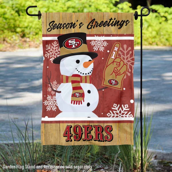 San Francisco 49ers Holiday Winter Snow Double Sided Garden Flag is 12.5x18 inches in size, is made of 2-ply polyester, and has two sided screen printed logos and lettering. Available with Express Next Day Ship, our San Francisco 49ers Holiday Winter Snow Double Sided Garden Flag is NFL Officially Licensed and is double sided.