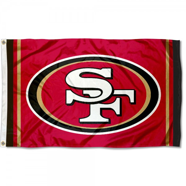 Our San Francisco 49ers Logo Flag is double sided, made of poly, 3'x5', has two metal grommets, indoor or outdoor, and four-stitched fly ends. These San Francisco 49ers Logo Flags are Officially Licensed by the NFL.