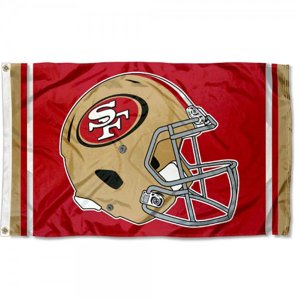 Our San Francisco 49ers New Helmet Flag is two sided, made of poly, 3'x5', Overnight Shipping, has two metal grommets, indoor or outdoor, and four-stitched fly ends. These San Francisco 49ers New Helmet Flags are Officially Approved by the San Francisco 49ers.