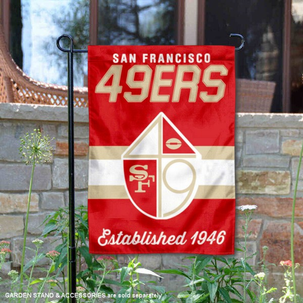 San Francisco 49ers Throwback Logo Double Sided Garden Flag Flag is 12.5x18 inches in size, is made of 2-ply polyester, and has two sided screen printed logos and lettering. Available with Express Next Day Ship, our San Francisco 49ers Throwback Logo Double Sided Garden Flag Flag is NFL Officially Licensed and is double sided.