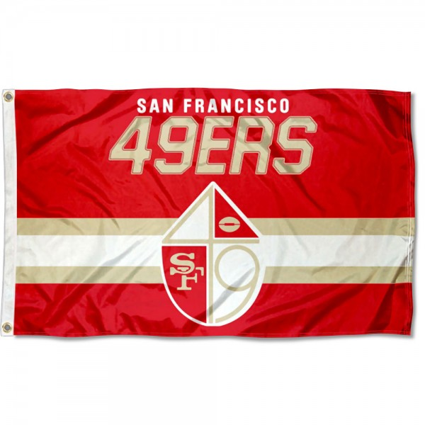 Our San Francisco 49ers Throwback Retro Vintage Logo Flag is double sided, made of poly, 3'x5', has two metal grommets, indoor or outdoor, and four-stitched fly ends. These San Francisco 49ers Throwback Retro Vintage Logo Flags are Officially Approved by the San Francisco 49ers.
