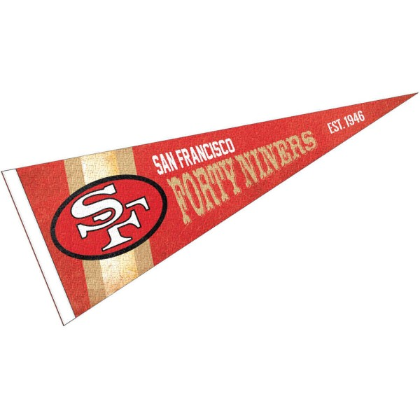 This San Francisco 49ers Throwback Vintage Retro Pennant is 12x30 inches, is made of premium felt blends, has a pennant stick sleeve, and the team logos are single sided screen printed. Our San Francisco 49ers Throwback Vintage Retro Pennant is NFL Officially Licensed.