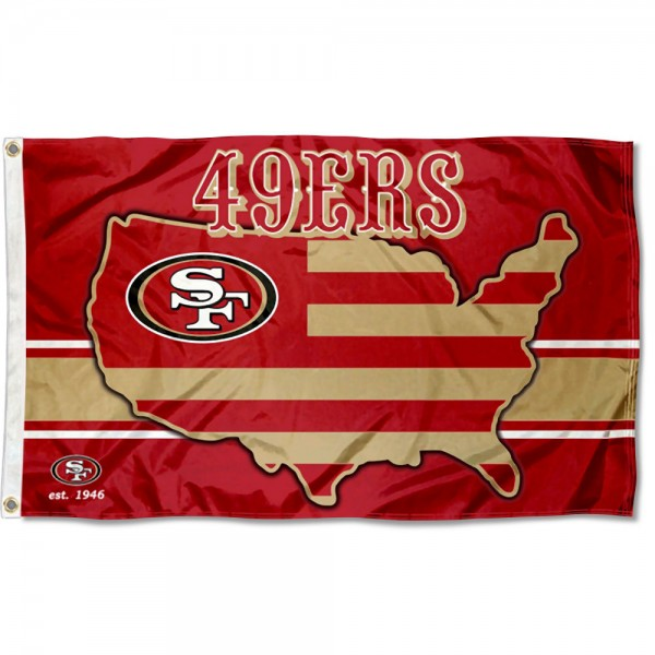 Our San Francisco 49ers USA Country Flag is double sided, made of poly, 3'x5', has two metal grommets, indoor or outdoor, and four-stitched fly ends. These San Francisco 49ers USA Country Flags are Officially Approved by the San Francisco 49ers.