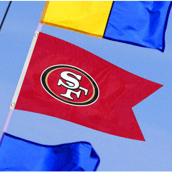San Francisco 49ers Yacht Flag measures 12x18 inches, is made of two-ply polyesters, offers double stitched flyends for durability, has two metal grommets, and is viewable from both sides. Our San Francisco 49ers Yacht Flag is Officially Licensed by the NFL and Teams and can be used as a motorcycle flag, golf cart flag, or ATV flag.