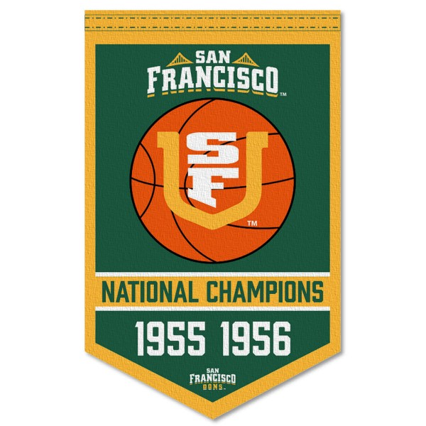 San Francisco Dons Basketball National Champions Banner consists of our sports dynasty year banner which measures 15x24 inches, is constructed of rigid felt, is single sided imprinted, and offers a pennant sleeve for insertion of a pennant stick, if desired. This sports banner is a unique collectible and keepsake of the legacy game and is Officially Licensed and University, School, and College Approved.