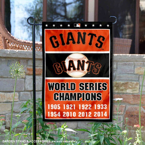 San Francisco Giants 8-Time World Series Champions Garden Flag is 12.5x18 inches in size, is made of 2-ply polyester, and has two sided screen printed logos and lettering. Available with Express Next Day Shipping, our San Francisco Giants 8-Time World Series Champions Garden Flag is MLB Genuine Merchandise and is double sided.
