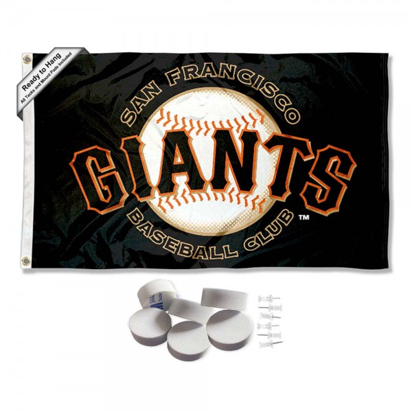 Our San Francisco Giants Banner Flag with Tack Wall Pads is double sided, made of poly, 3'x5', has two metal grommets, indoor or outdoor, and four-stitched fly ends. These San Francisco Giants Banner Flag with Tack Wall Padss are Officially Approved by the Boston Bruins. Tapestry Wall Hanging Tack Pads which include a 6 pack of banner display pads with 6 tacks allowing you to hang your pennant on any wall damage-free.