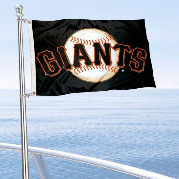 """Our San Francisco Giants Boat and Nautical Flag is 12""""x18"""", made of three-ply poly, has a solid header with two metal grommets, and is double sided. This Boat and Nautical Flag for San Francisco Giants is Officially Licensed by the MLB and can also be used as a motorcycle flag, boat flag, golf cart flag, or recreational flag."""