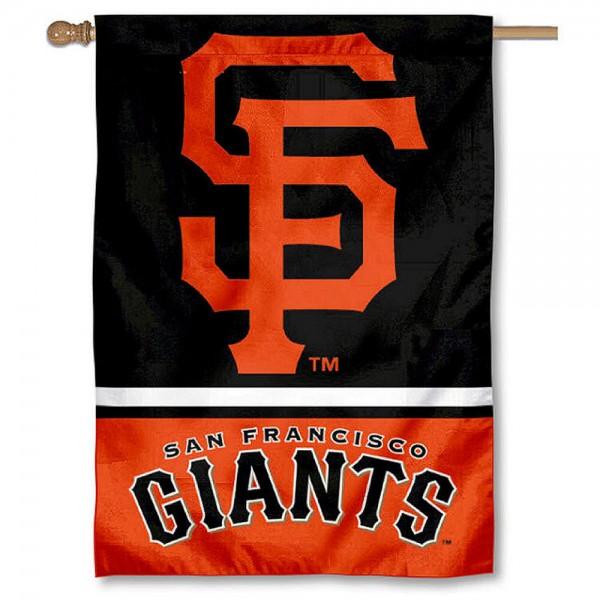 San Francisco Giants Double Sided House Flag is screen printed with San Francisco Giants logos, is made of 2-ply 100% polyester, and is two sided and double sided. Our banners measure 28x40 inches and hang vertically with a top pole sleeve to insert your banner pole or flagpole.
