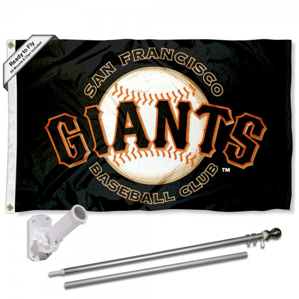 Our San Francisco Giants Flag Pole and Bracket Kit includes the flag as shown and the recommended flagpole and flag bracket. The flag is made of polyester, has quad-stitched flyends, and the MLB Licensed team logos are double sided screen printed. The flagpole and bracket are made of rust proof aluminum and includes all hardware so this kit is ready to install and fly.