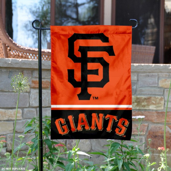 San Francisco Giants Garden Flag is 12.5x18 inches in size, is made of 2-ply polyester, and has two sided screen printed logos and lettering. Available with Express Next Day Shipping, our San Francisco Giants Garden Flag is MLB Genuine Merchandise and is double sided.