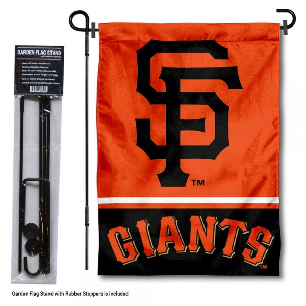 "San Francisco Giants Logo Garden Flag and Stand kit includes our 13""x18"" garden banner which is made of 2 ply poly with liner and has screen printed licensed logos. Also, a 40""x17"" inch garden flag stand is included so your San Francisco Giants Logo Garden Flag and Stand is ready to be displayed with no tools needed for setup. Fast Overnight Shipping is offered and the flag is Officially Licensed and Approved by the selected team."