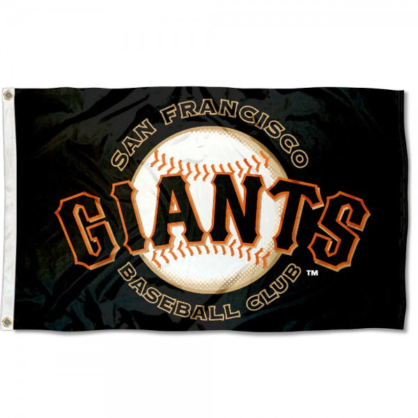 San Francisco Giants MLB Flag is made of 100% polyester, measures 3x5 feet, has two metal grommets, and the Baseball Club logos are viewable from both sides with the opposite side being a reverse image. This San Francisco Giants MLB Flag is MLB Genuine Merchandise