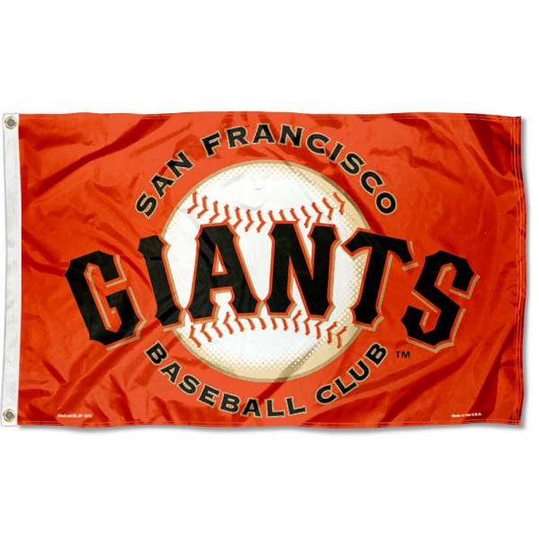 Our San Francisco Giants Orange Flag is double sided, made of poly, 3'x5', has two grommets, and four-stitched fly ends. These San Francisco Giants Orange Flags are Officially Licensed by the MLB.