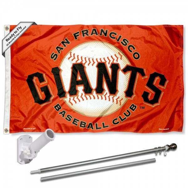 Our San Francisco Giants Orange Flag Pole and Bracket Kit includes the flag as shown and the recommended flagpole and flag bracket. The flag is made of polyester, has quad-stitched flyends, and the MLB Licensed team logos are double sided screen printed. The flagpole and bracket are made of rust proof aluminum and includes all hardware so this kit is ready to install and fly.