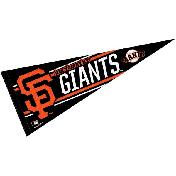 This San Francisco Giants Pennant measures 12x30 inches, is constructed of felt, and is single sided screen printed with the San Francisco Giants logo and insignia. Each San Francisco Giants Pennant is a MLB Genuine Merchandise product.