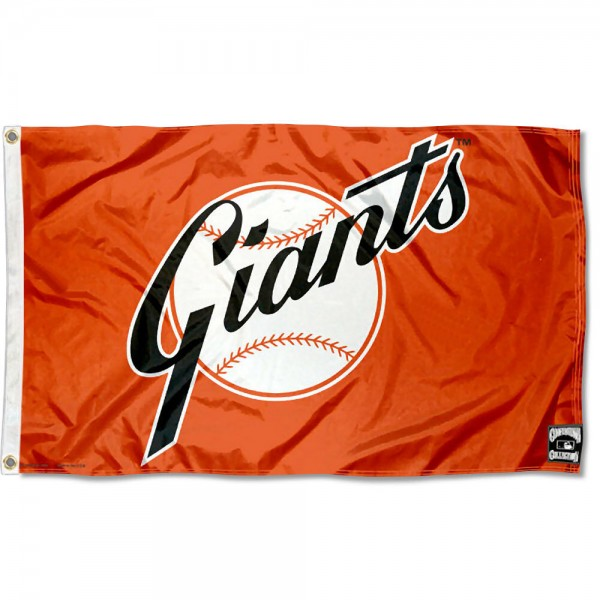 Our San Francisco Giants Vintage Flag is double sided, made of poly, 3'x5', has two grommets, and four-stitched fly ends. These San Francisco Giants Vintage Flags are Officially Licensed by the MLB.
