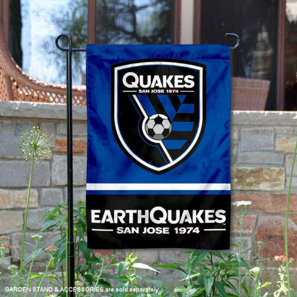 San Jose Earthquakes Garden Flag is 12.5x18 inches in size, is made of 2-ply polyester, and has two sided screen printed logos and lettering. Available with Express Next Day Shipping, our San Jose Earthquakes Garden Flag is MLS Genuine Merchandise and is double sided.