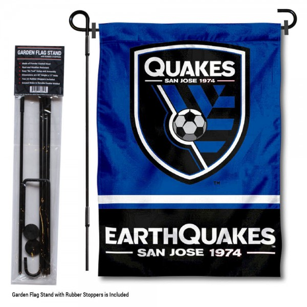 "San Jose Earthquakes Garden Flag and Flagpole Stand kit includes our 12.5""x18"" garden banner which is made of 2 ply poly with liner and has screen printed licensed logos. Also, a 40""x17"" inch garden flag stand is included so your San Jose Earthquakes Garden Flag and Flagpole Stand is ready to be displayed with no tools needed for setup. Fast Overnight Shipping is offered and the flag is Officially Licensed and Approved by the selected team."