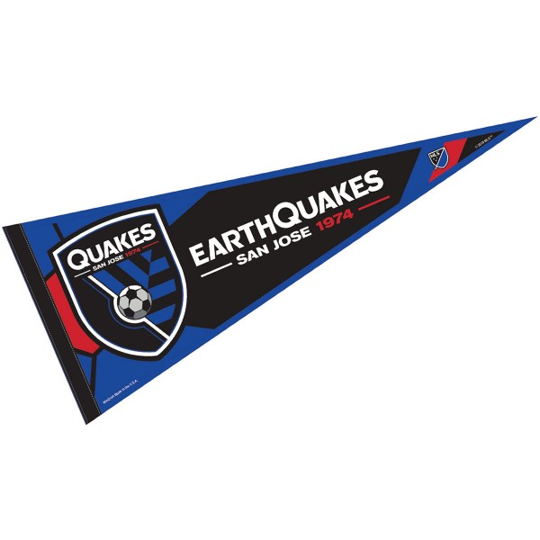 San Jose Earthquakes Pennant is our Full Size MLS soccer team pennant which measures 12x30 inches, is made of felt, and is single sided screen printed. Our San Jose Earthquakes Pennant is perfect for showing your MLS team allegiance in any room of the house and is MLS licensed.