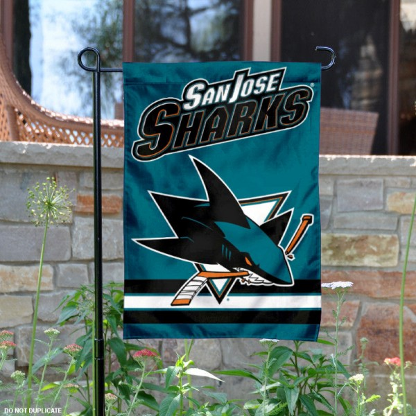 San Jose Sharks Garden Flag is 12.5x18 inches in size, is made of 2-ply polyester, and has two sided screen printed logos and lettering. Available with Express Next Day Ship, our San Jose Sharks Garden Flag is NHL Officially Licensed and is double sided.