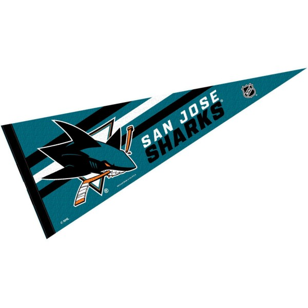 San Jose Sharks NHL Pennant is our full size 12x30 inch pennant which is made of felt, is single sided screen printed, and is perfect for decorating at home or office. Display your NHL hockey allegiance with this NHL Genuine Merchandise item.