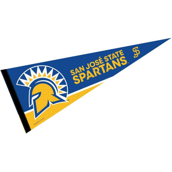 San Jose State Spartans Decorations consists of our full size pennant which measures 12x30 inches, is constructed of felt, is single sided imprinted, and offers a pennant sleeve for insertion of a pennant stick, if desired. This San Jose State Spartans Decorations is officially licensed by the selected university and the NCAA
