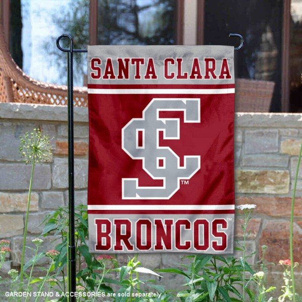 Santa Clara Broncos Garden Flag is 13x18 inches in size, is made of 2-layer polyester, screen printed logos and lettering. Available with Same Day Express Shipping, Our Santa Clara Broncos Garden Flag is officially licensed and approved by the NCAA.