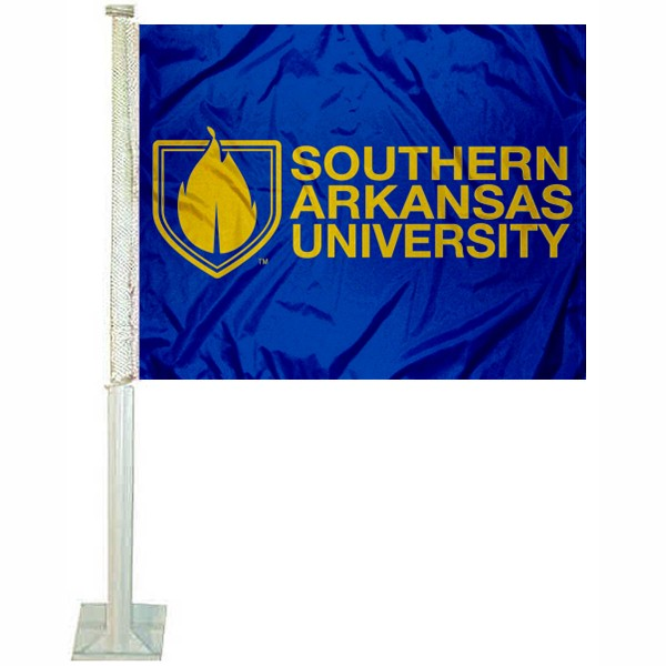 SAU Muleriders Car Flag measures 12x15 inches, is constructed of sturdy 2 ply polyester, and has screen printed school logos which are readable and viewable correctly on both sides. SAU Muleriders Car Flag is officially licensed by the NCAA and selected university.