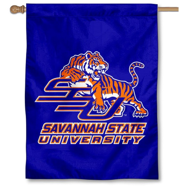 Savannah State SSU Tigers Banner Flag is a vertical house flag which measures 30x40 inches, is made of 2 ply 100% polyester, offers dye sublimated NCAA team insignias, and has a top pole sleeve to hang vertically. Our Savannah State SSU Tigers Banner Flag is officially licensed by the selected university and the NCAA.