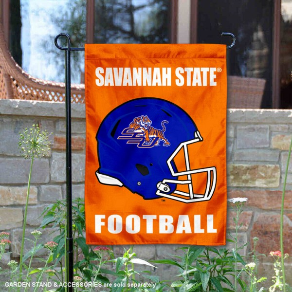 Savannah State Tigers Helmet Yard Garden Flag is 13x18 inches in size, is made of 2-layer polyester with Liner, screen printed university athletic logos and lettering, and is readable and viewable correctly on both sides. Available same day shipping, our Savannah State Tigers Helmet Yard Garden Flag is officially licensed and approved by the university and the NCAA.